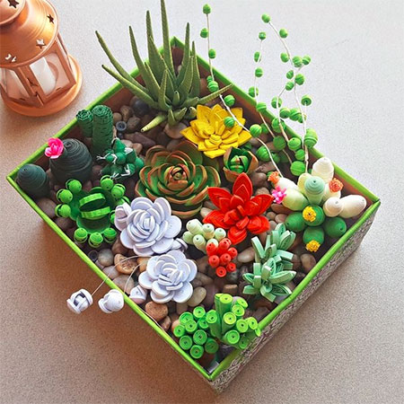 Home Dzine Craft Ideas Beautiful Quilled Succulent Garden