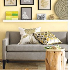 Decorating With Light Yellow Walls Living Room Teal Gray Brown Leather Couch Home Dzine