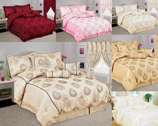 Top Quality Glittery Stripe Jacquard Malta 7Pcs Comforter Set