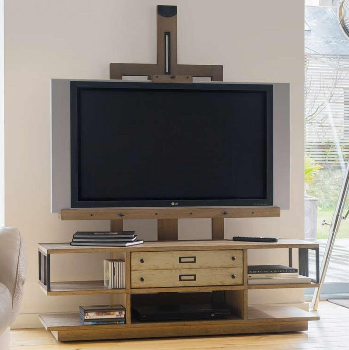 meuble tv chevalet sur roulettes