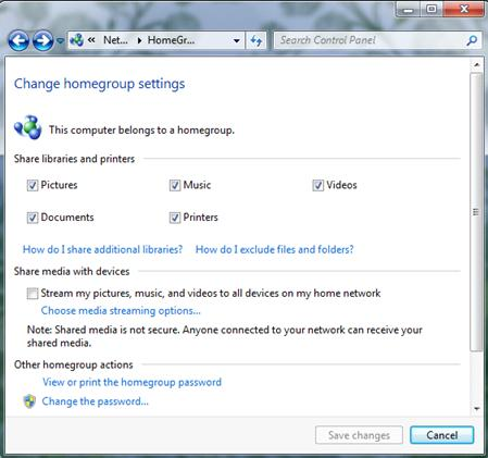Windows 7 Homegroup Creation