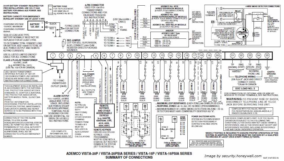 Ademco Vista 20P Wiring Diagram
