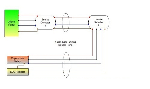 smoke detector wiring  connecting multiple runs
