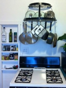 wall mounted pot rack Organizing Kitchen Counters And Sink