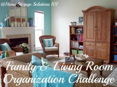 Organizing Living Room  Family Room Challenge
