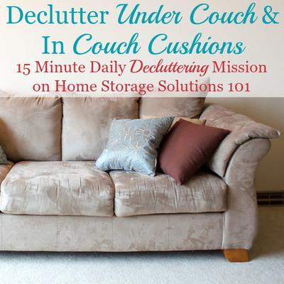 clean declutter under couch between