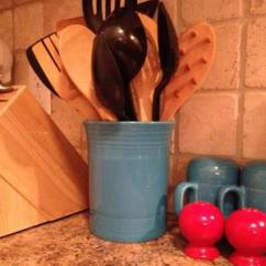 Kitchen Crocks Mobile Home Remodel Utensil Crock Ideas For Convenience Saving Drawer Space Fiesta Adds Vibrant Color To Your