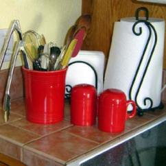 Kitchen Crocks Tin Backsplash Utensil Crock Ideas For Convenience Saving Drawer Space Red Fiesta
