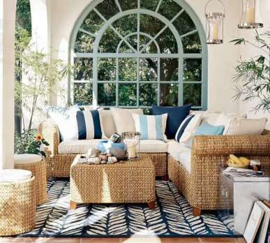 Beautiful, coastal patio set up with lots of fun patterns and textures