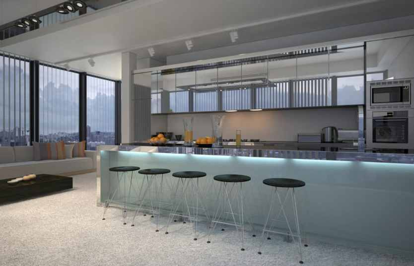 spacious contemporary kitchen with a bar counter and modular stools