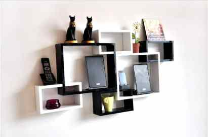 Cube display wooden wall shelf design