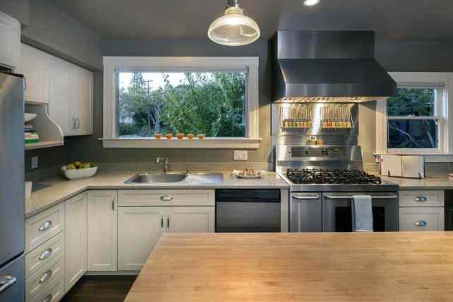 classy gray and white kitchen