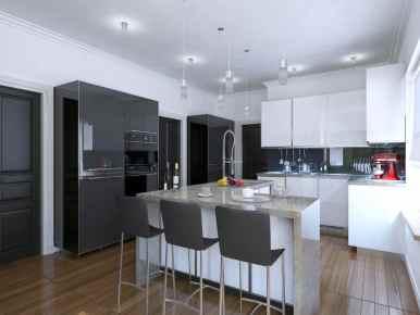 beautiful grey kitchen in a condo