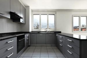 new apartment with sharp grey kitchen design