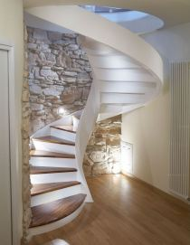 Helical Staircase Wooden Steps Lateral Stringer with Risers