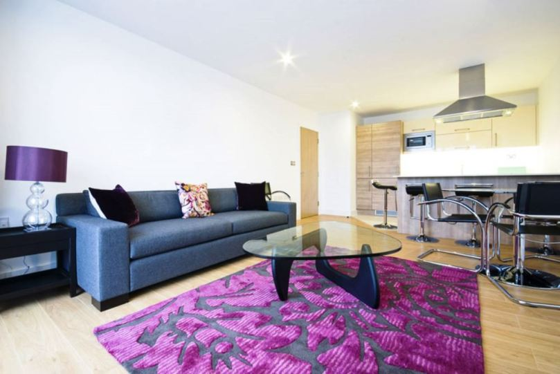 small open plan kitchen and living room where the furniture, furnishings and the lighting fixtures are pretty and modern