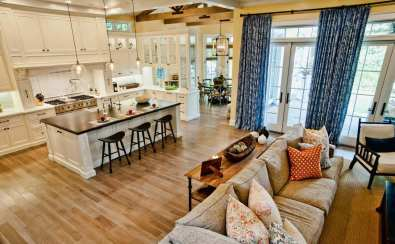 elegant small open plan kitchen and living room which is clutter-free
