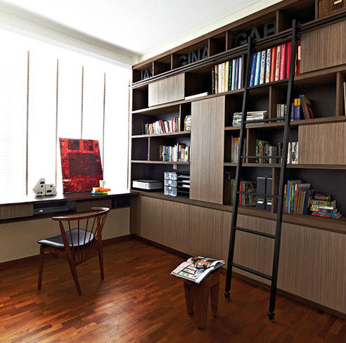 A librarystyle sliding ladder  a cool design feature for the home  Home  Decor Singapore