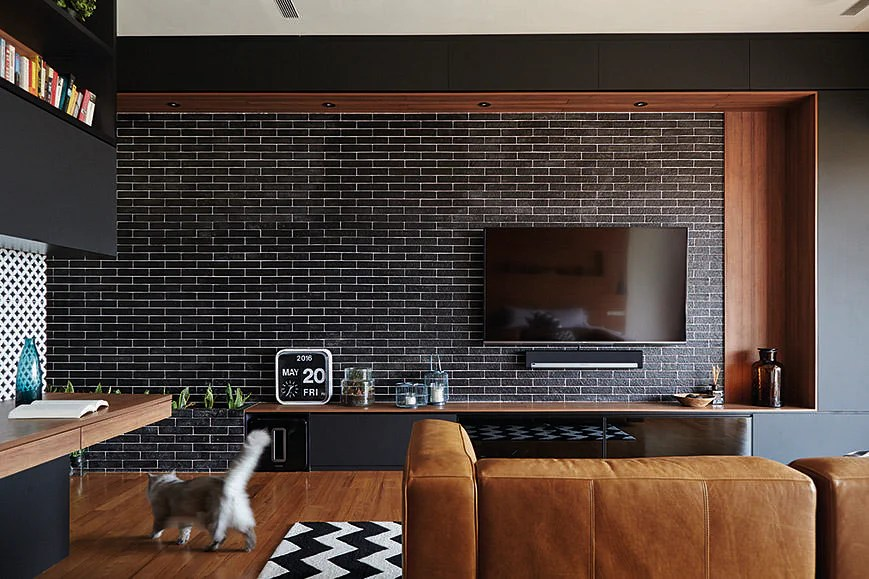 tiled living room built in bar design ideas: 7 brick walls stylish spaces ...