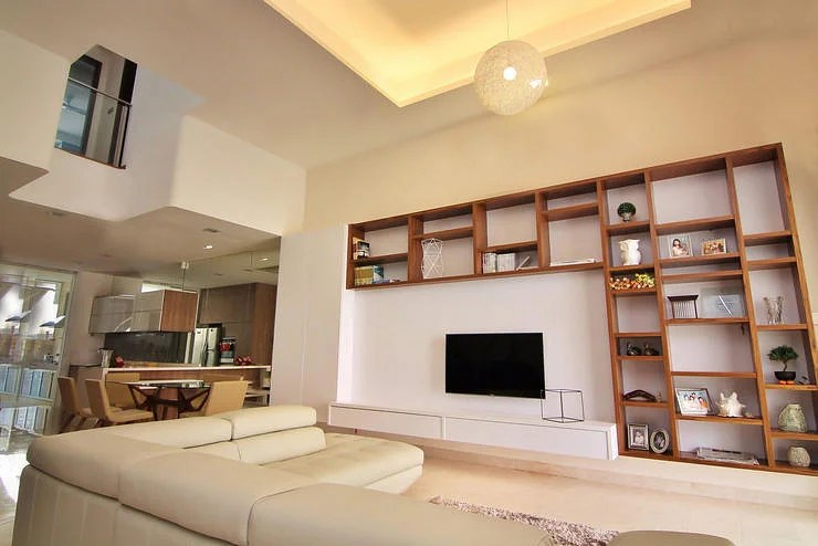 showcase designs living room wall mounted marble tile ideas 10 elegantly clean cut tv console and feature design ...