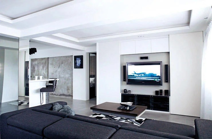living room wall designs ideas showcase furniture 10 elegantly clean cut tv console and feature design 9