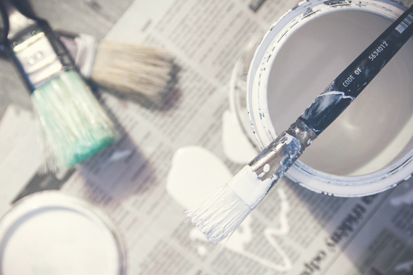 Interior house painting paint and brushes