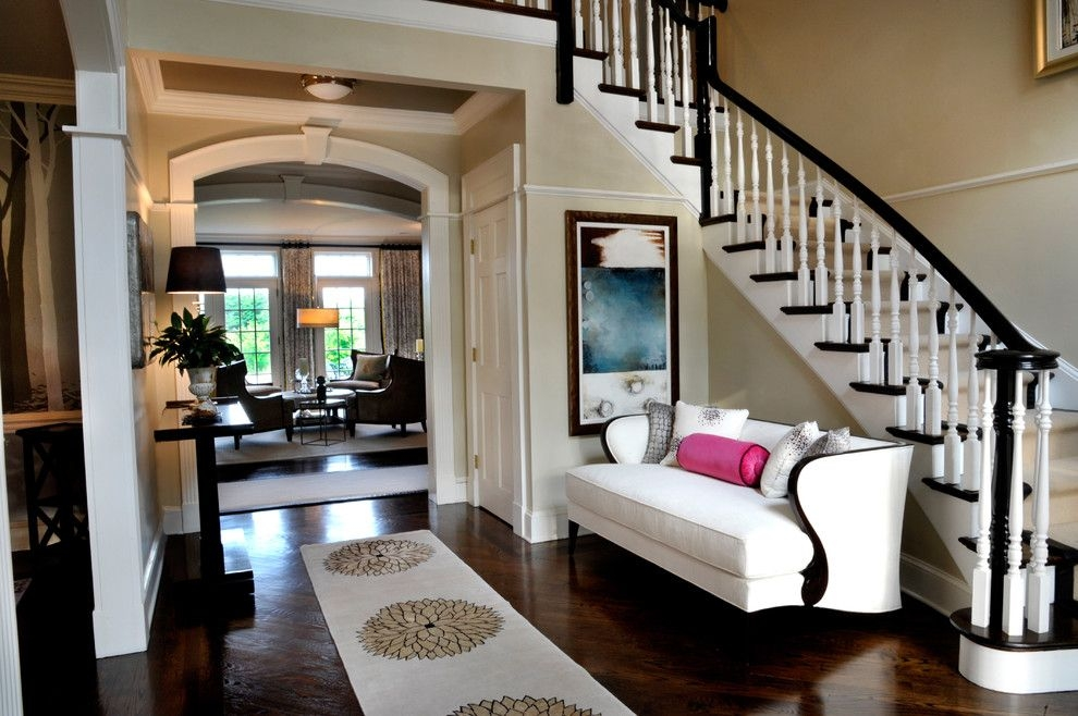 Bonterra Builders For A Traditional Entry With A White Stair   Dark Wood And White Stairs   Light   Contrast   Brick Wall Dark Stain   Flooring   Carpet