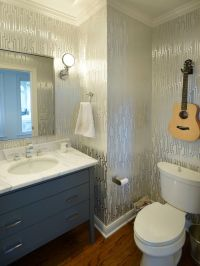 Candice Olsen for a Transitional Powder Room with a Wall ...
