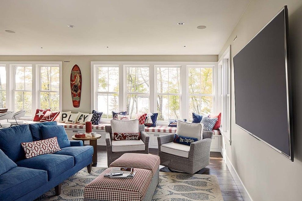 Clerestory Windows for a Beach Style Family Room with a