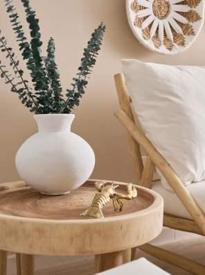 jean vase with eucalyptus