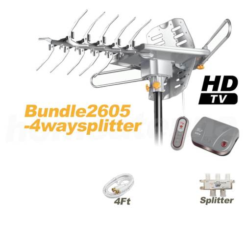 HD-2605 Ultra Outdoor TV Antenna with 4-Way Splitter Package-0