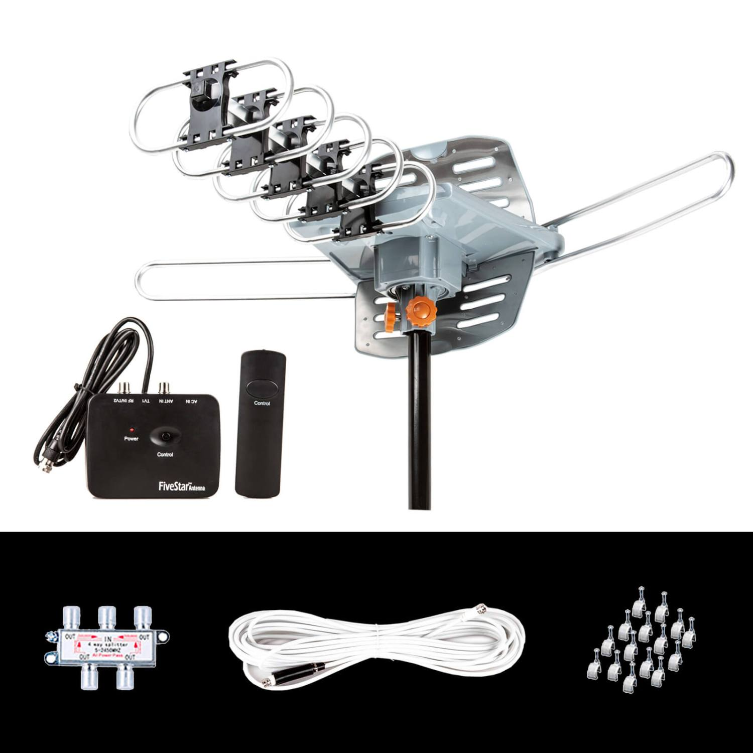 Five Star Outdoor 150 Mile Motorized 360 Degree Rotation OTA Amplified HDTV Antenna for 2 TVs Support - UHF/VHF/1080P Channels Wireless Remote Control - 40FT Coax Cable