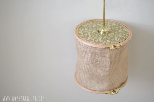 BONUS DIY: HOW TO MAKE A CEILING LAMP Original shades for original lamps made with embroidery frames