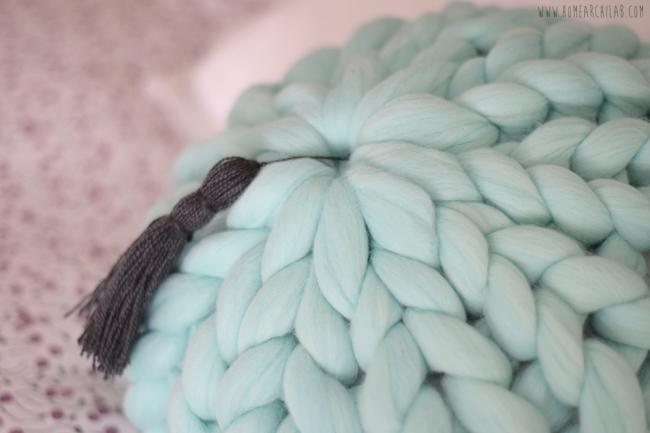 como hacer cojines de lana xxl