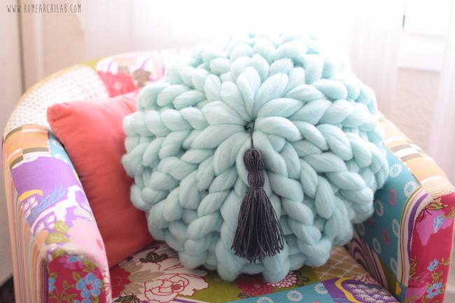 tejer cojines de lana xxl
