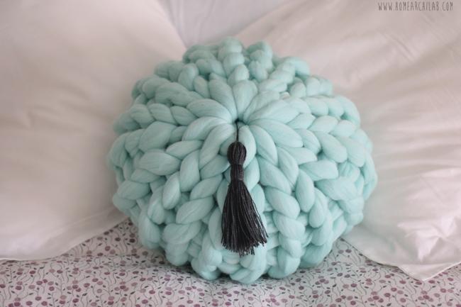 como hacer cojines de lana gruesa