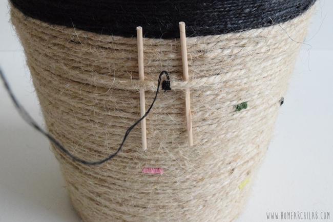 decoración de macetas con cuerda e hilo