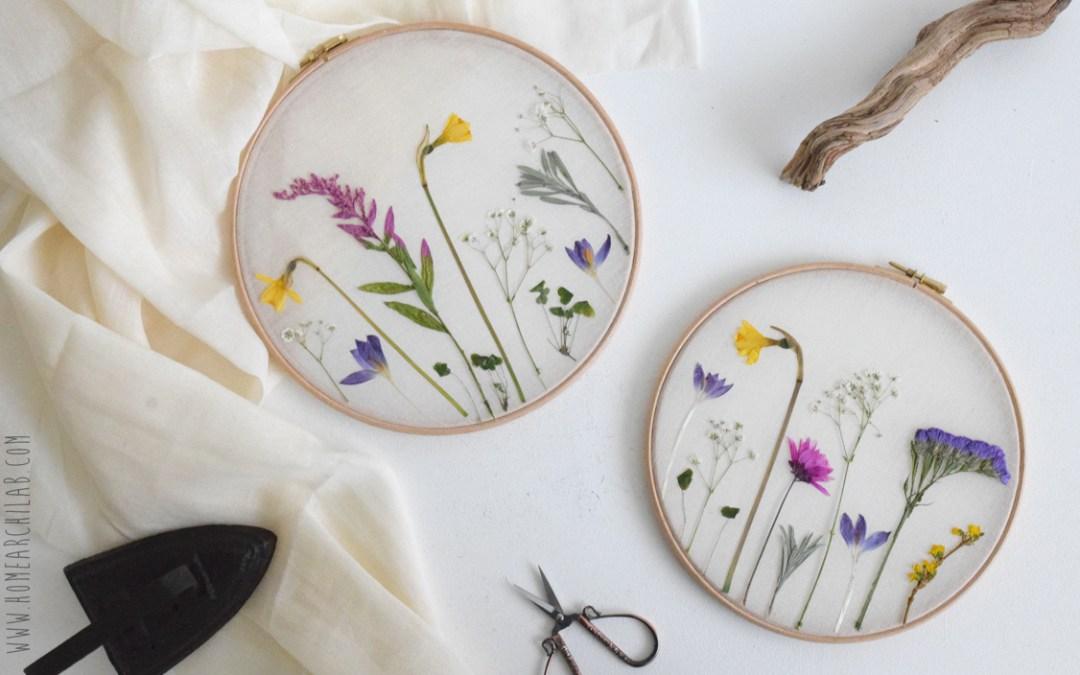 DIY CAMPO DE FLORES PRENSADAS Haz tus propios cuadros con flores secas y un bastidor para bordar
