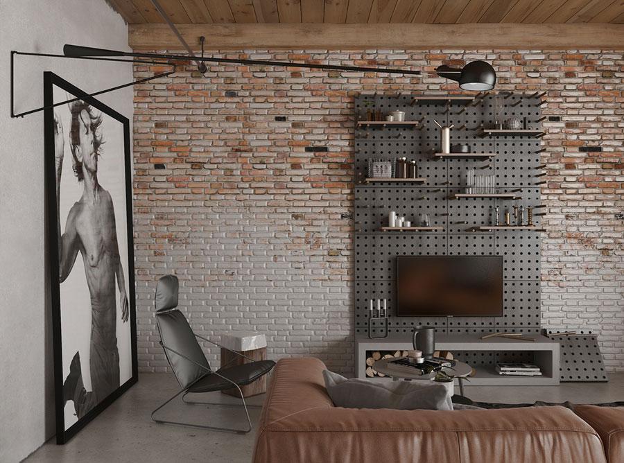 Stoere industrile woonkamer met bakstenen muren  HOMEASE