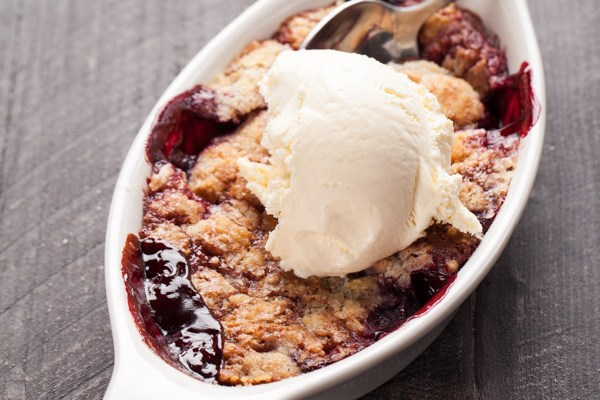 Peach and Boysenberry Crisp