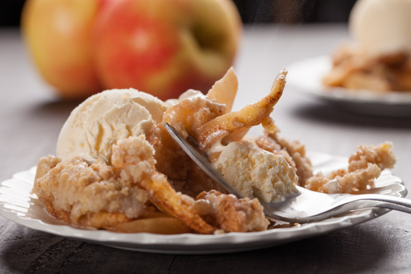 Old Fashioned Apple Crisp Topped with Vanilla Ice Cream