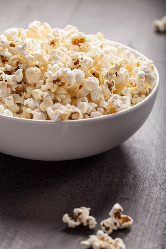 Olive oil popped popcorn with Himalayan Pink salt and Sea Salt