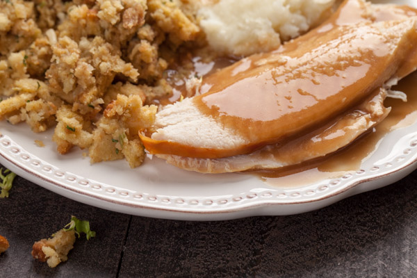 Oven Roasted Turkey with stuffing and mashed potatoes