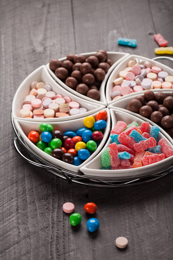 Movie candy platter with chocolate and gummies