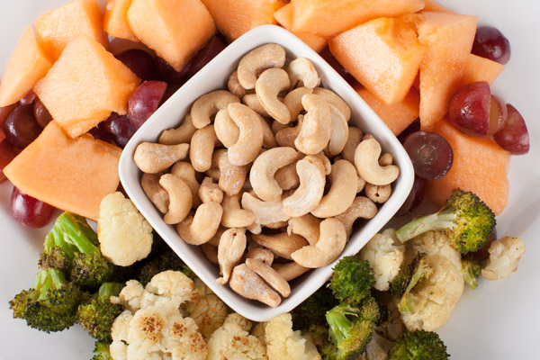 Roasted vegetables, Fresh Fruit, and Cashews