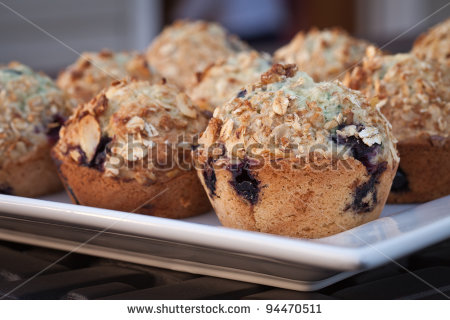 Platter of blueberry muffins - income report