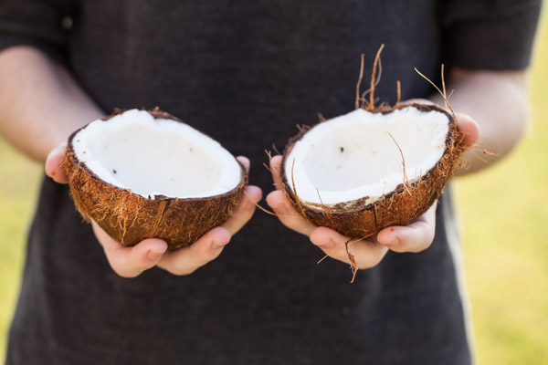 Opening a raw coconut