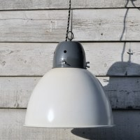 Large Industrial Spun Metal Pendant Lamp Shade - White ...