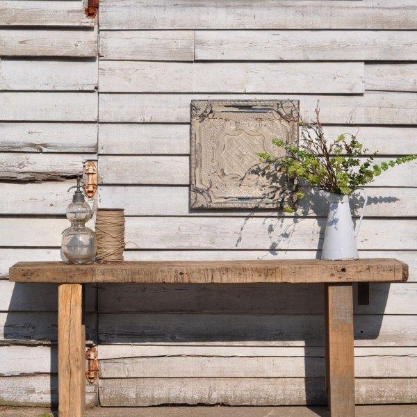 Antique Rustic Large Elm Console Table