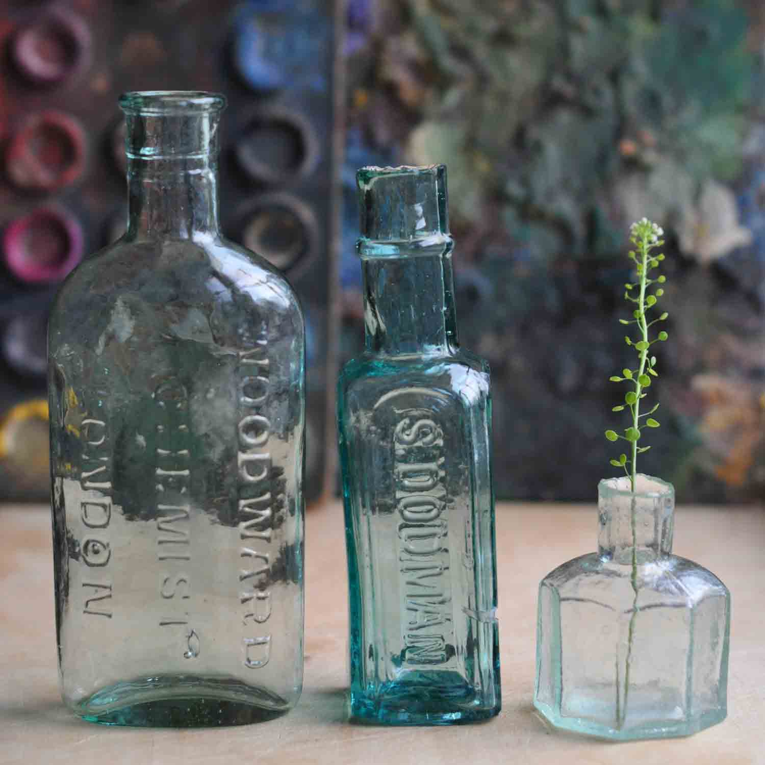 Victorian-Aqua-Glass-bottle-collection-of-3
